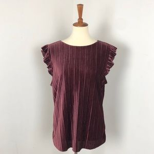 Worthington | Crushed Velvet Micro-Pleated Blouse